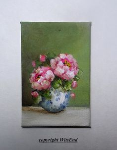 Dollhouse Peonies painting original miniature shadow box art by 4WitsEnd, via Etsy