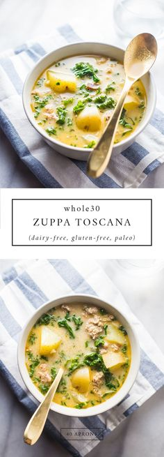This zuppa toscana is rich and creamy spicy and absolutely bursting with flavor. Dairy free gluten free grain free and sugar free this paleo zuppa toscana is one of the best soups out there! Paleo Whole 30, Whole 30 Recipes, Whole Food Recipes, Cooking Recipes, Healthy Recipes, Diet Recipes, Whole 30 Soup, Cooking Tips, Cheap Recipes