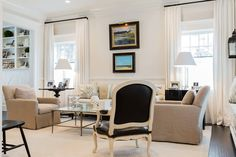 Soft neutrals / White curtains + black rods. Brookes and Hill Custom Builders : Tucked Away