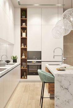 design de interior de cozinha com ilha \ design de interior de cozinha Kitchen Room Design, Kitchen Cabinet Design, Modern Kitchen Design, Home Decor Kitchen, Kitchen Interior, Home Kitchens, Küchen Design, House Design, Shelf Design