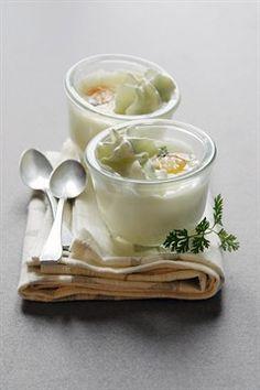 Œufs en cocotte à la crème & mousse à l'asperge