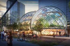 Basé à Seattle, le nouveau siège d'Amazon se compose de trois serres urbaines.Le but est de mêler environnement de travail et ambiance forêt tropicale pour des conditions de travail optimales.