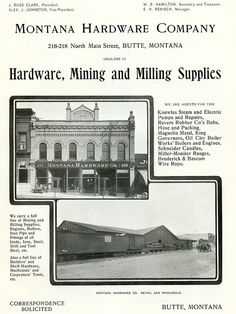 Montana Hardware Company, Butte, Montana. (1900)   Image taken from pg 127 of A Brief History of Butte, Montana the World's Greatest Mining Camp: Including a Story of the Extraction and Treatment of Ores from its Gigantic Copper Properties  Unique ID: mze-butt1900 pg 127  Type: Book  Contributors: Harry C. Freeman; Publisher, The Henry O. Shepard Company  Date Digital: November 2009  Date Original: 1900   Source: Butte Digital Image Project at Montana Memory Project (read the book)…