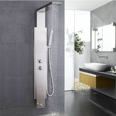 Create the shower of your dreams with this luxe shower panel that creates a waterfall for your shower head. A built-in spray massage and temperature control makes this the ultimate shower panel for your walk in shower.