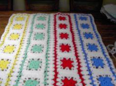 Handmade crochet blanket   Chunky yarn red blue by nannycheryl, $80.00