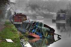 Canal boat sinking (Bob McCaffrey) Tags: england mist river canal lock smoke narrowboat hertfordshire sinking herts rickmansworth grandunion batchworth