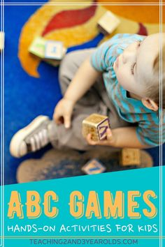 Looking for ways to work on the ABCs? These preschool alphabet games work on letter recognition and are hands-on fun! #preschool #alphabet #abc #letters #literacy #games #age3 #teaching2and3yearolds Letter Matching Game, Letter Games, Alphabet Games, Preschool Alphabet, Teaching The Alphabet, Letter Activities, Learning Letters, Hands On Activities, Abc Games