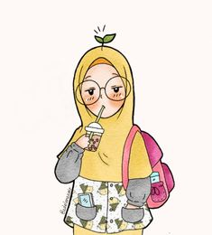 Pinterest: @wefeld Cartoon Sketches, Cartoon Art, Cute Illustration, Watercolor Illustration, Hijab Drawing, Islamic Cartoon, Anime Muslim, Hijab Cartoon, Mode Blog