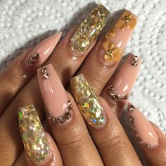 Nude Nailz with Rose Gold Bling and Gold Glitter