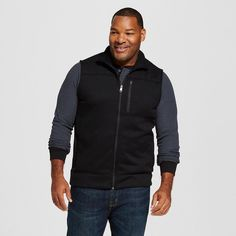 Men's Big & Tall Sweater Fleece Vest Black Xxxl Tall - Merona