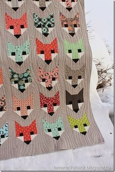 Fancy Fox Quilt (I like the wood grain quilting) | by Heather and quilted at Tamarack Shack