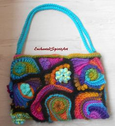 Crochet Handbag Freeform wearable art Mohair Yarn, Freeform Crochet, Crochet Handbags, Felt Fabric, Rainbow Colors, Wearable Art, Hand Sewing, Knitting Patterns, Reusable Tote Bags