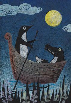 夜の船 Night ship This could be the coolest picture ever. Penguin Life, Penguin Art, Animal Drawings, Art Drawings, Penguin Tattoo, Penguin Illustration, Year Of The Dragon, Picture Design, Illustrations