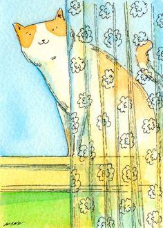ღღ Behind+the+Lace+Curtain,+painting+by+artist+Nicole+Wong