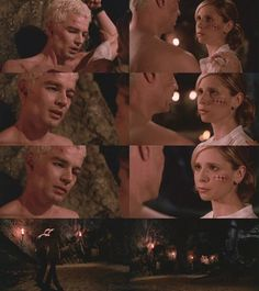 This scene breaks my heart every time. He's been tortured and beaten so bad, and The First keeps taunting him with Buffy. Then it's really her, there to rescue him. And the look he gets, just...sighs...