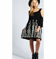 boohoo Betty Border Print Open Shoulder Smock Dress - With its baggy boho shape and quirky cold shoulder styling, this smock dress is something different and we love it! Style it with a bowler hat , chunky ankle boots and a bold lip . http://www.comparestoreprices.co.uk/dresses/boohoo-betty-border-print-open-shoulder-smock-dress-.asp