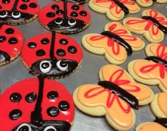 Fudge and fondant lady bug and butterfly cookies - Mueller's Bakery!