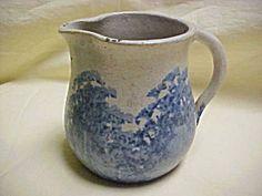 Vintage 1940's Byrd Pottery Tyler Texas Blue Bonnet Blue Gray Creamer Pitcher