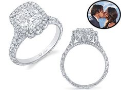"""MY FAVORITE. GORGEOUS. """"Bachelor Ben Flajnik's engagement ring, courtesy of Neil Lane. 3 carat cushion halo with 3 tulip petals on each side of the basket. seriously stunning, and love the use of petals as """"past-present-future"""" instead of a 3-stone setting...nice girly touch without being too floral!!"""""""