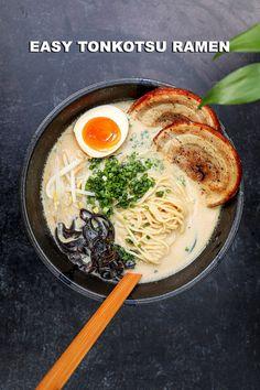 EASY Real Tonkotsu Recipe & Video - Seonkyoung Longest Easy Tonkotsu Ramen Recipe, Creamy Chicken Ramen Recipe, Best Ramen Recipe, Spicy Miso Ramen Recipe, Asian Recipes, Healthy Recipes, Ethnic Recipes, Easy Ramen Recipes, Asian Foods