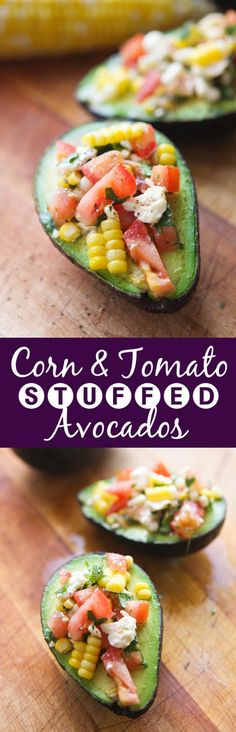 Corn and Tomato Stuffed Avocados | As if avocados were not good enough alone.. stuff them with delicious ingredients! This is a great side dish, lunch, snack OR breakfast!