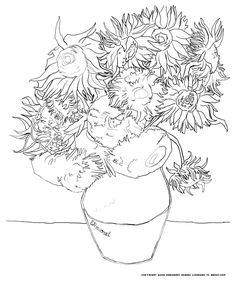 Free coloring page coloring-van-gogh-tournesols. The famous Van Gogh Sunflowers at your disposal to make a work of art!