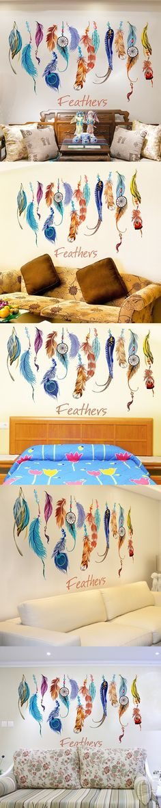 Removable DIY Feather Sticker Dreamcatcher Colorful Plumage Creative Home Decor Sticker For Kids Room Korean Wall Sticker $7.62