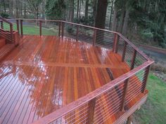 cedar and cable deck railing Ipe Decking, Composite Decking, Outdoor Decking, Cool Deck, Diy Deck, Best Decking Material, Cedar Deck, Ipe Wood, Deck Railings