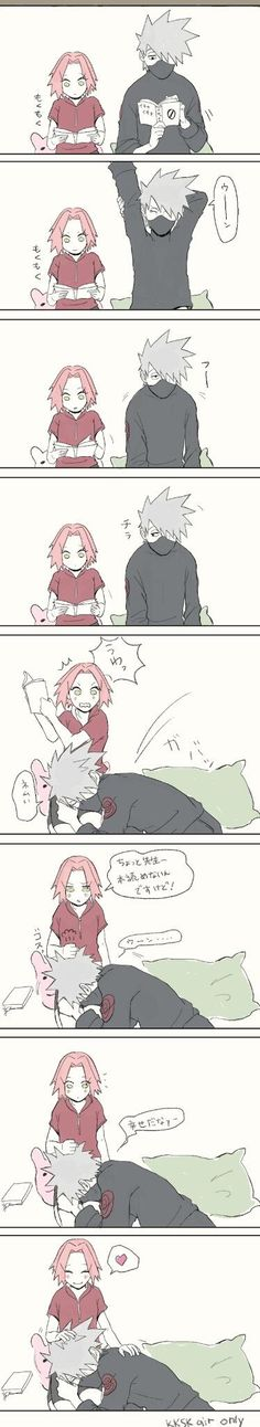 Kakashi and Sakura. I've never shipped these two but I thought this was cute. Couldn't help myself. (Mix Feelings)