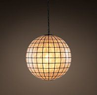 "Capiz Shell Pendant Small  $295, 18""  But not deliverable until 5/8.  Hardwired, black  rated for only a 60W bulb"