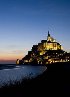 Sunset on Mont Saint-Michel in France