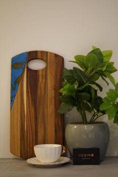 Australia Acacia Serving Board with Aquamarine Blue Aquamarine Blue, Serving Board, Acacia, Australia, Vase, Interior Design, Handmade Gifts, Furniture, Vintage