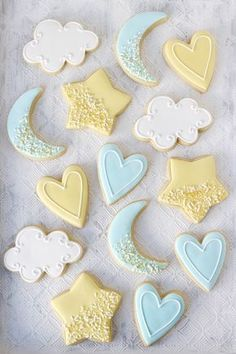 Star and Moon Decorated Baby Shower Cookies | ChicChicFindings.etsy.com