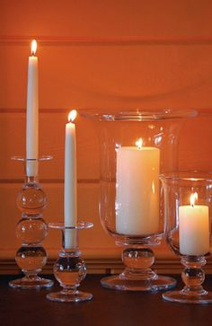 Ampersand - Light up your home with Simon Pearce Hartland candle sticks & hurricanes.