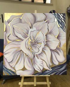Bird Painting Acrylic, Easy Flower Painting, Easy Canvas Painting, Acrylic Painting Techniques, Acrylic Canvas, Flower Art, Watercolor Paintings, Canvas Art, Gold Leaf Art