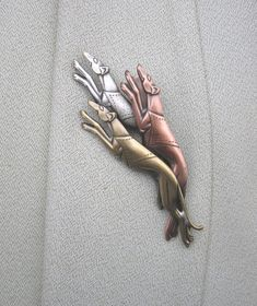 Greyhounds Brooch by PINSwithPERSONALITY on Etsy, $18.00