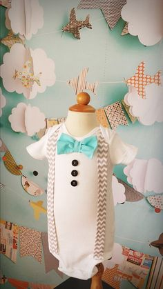 Customizable Vintage baby boy bow tie. Easter spring style onesie bodysuit birthday photography props wedding ring bearer. Shabby chic Little Gray & Co
