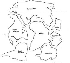 Students could cut out each continent and move them around to create Pangaea and the current placement of the continents. World Map Coloring Page, Earth Coloring Pages, Flag Coloring Pages, Teaching Maps, Teaching Social Studies, Earth And Space Science, Science And Nature, Science Activities, Science Experiments