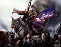 I couldn't find the original site but its cool enough some guy riding a giant squirrel.