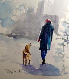 "Original Watercolor Painting, ""Red Hat and Mittens"", free shipping North America and UK by Benjaminart9 on Etsy"