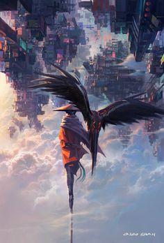 Ainda não foi investigado a forma como a cidade das nuvens permanece flutuando, mas uma mulher e sua águia parecem ter uma pista.