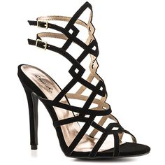 Ava - Black nubuck strappy heel by Qupid. Elegant, angular, and unique design. Trip and fall with pizazz!