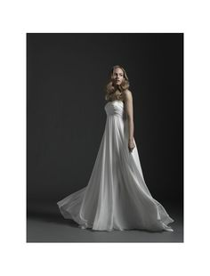 Chiffon Strapless Necklline Empire Wedding Dress with Rouched Bust - Bridal Gowns - RainingBlossoms