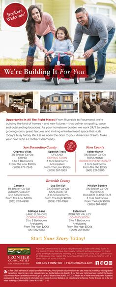New Homes for Sale in the Inland Empire, California  Opportunities Across the Inland Empire!  We're Building it For You!  Brokers Welcome!  3% Broker Co-Op!  Bring your clients to see these affordably priced neighborhoods spanning over 10 cities in the Inland Empire!    http://www.fhcommunities.com/communities.cfm