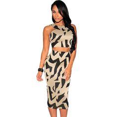 Womens Sexy Midi Length Champagne Gold Zebra Print Halter High Waist 2 pcs Dress Set Club Twinset