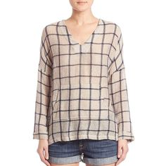 Stateside V-Neck Plaid Tunic (135165 IQD) ❤ liked on Polyvore featuring tops, tunics, apparel & accessories, v neck pullover, plaid top, long sleeve tunic, pink long sleeve top and long sleeve tops