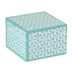"""Bring a touch of style to your favorite space with this eye-catching accent, featuring detailed craftsmanship and chic appeal.     Product: Trinket boxConstruction Material: Lacquered woodColor: TurquoiseFeatures:  Each box is lined with LusterLoc to keep your precious jewelry from tarnishingHigh-gloss lacquer Color Dimensions: 3.5"""" H x 5"""" W x 5"""" D"""