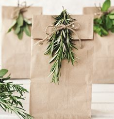 Gifts Wrapping & Package : Transform a regular lunch bag into a simple, stunning gift bag with natural jute twine and a sprig of fresh herbs. Diy Gift Bags Paper, Paper Bag Gift Wrapping, Creative Gift Wrapping, Christmas Gift Wrapping, Paper Gifts, Christmas Crafts, Paper Bags, Willow And Sage, Decorated Gift Bags