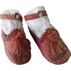 Lovely Silk Quilted Shoes For A Large Doll from antiquedolladdiction on Ruby Lane