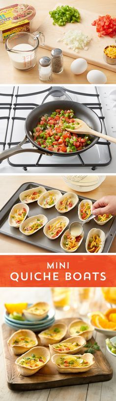 Need a beautiful weekend brunch or a simple on-the-go breakfast? These Mini Quiche Boats are perfect!  Saute bell peppers & onion over medium heat, and beat the eggs, cream and salt with a whisk. Then fill Old El Paso™ Mini Taco Boats with the sauteed veggies, and pour egg mixture on top. Pop them in the oven for the perfect Mini Quiche Boats - great for a leisurely brunch, or a quick breakfast on your way out the door!